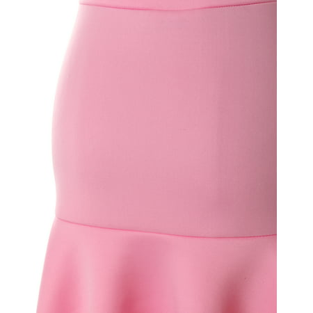 Doublju Stretchy Scuba Flared Mermaid Mini Skirt For Women With Plus Size BABYPINK S