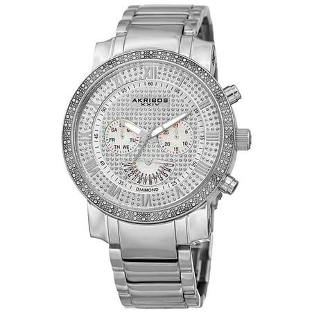 - Men's Swiss Quartz Dazzling Retrograde Dual-Time Stainless Steel Bracelet Watch - silver