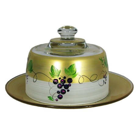 Grapes and Vines Hand Painted Glass Cheese Dome with Plate 6