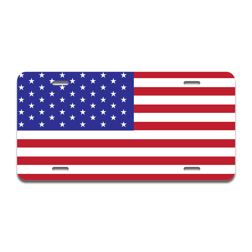 United States Flag License Plate 11-3//4 in x 6 in Aluminum