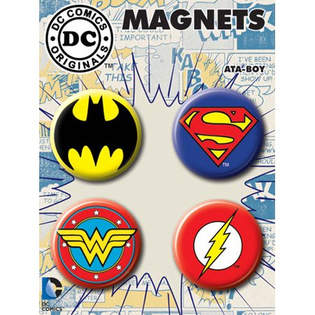 Refrigerator Magnet Set - Batman Superman Wonder Woman Flash 4 Piece Round Refrigerator Magnet Set