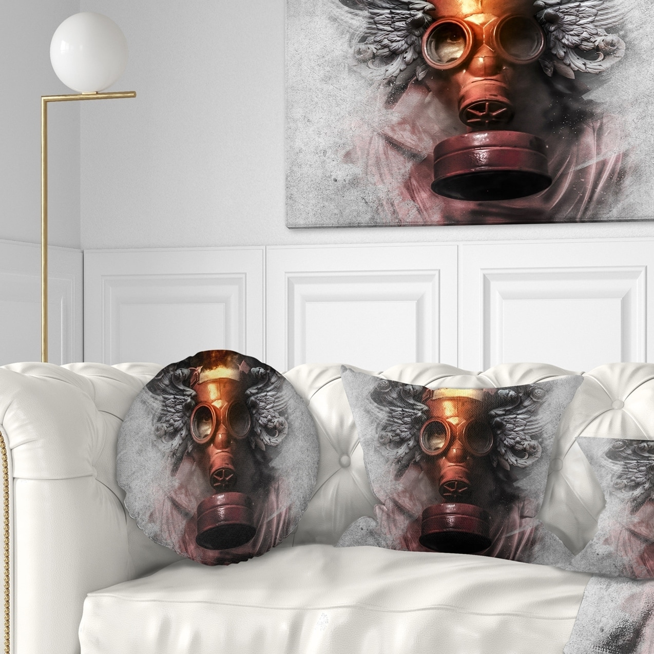 DESIGN ART Designart 'Toxic Man in Mask' Abstract Portrait Throw Pillow