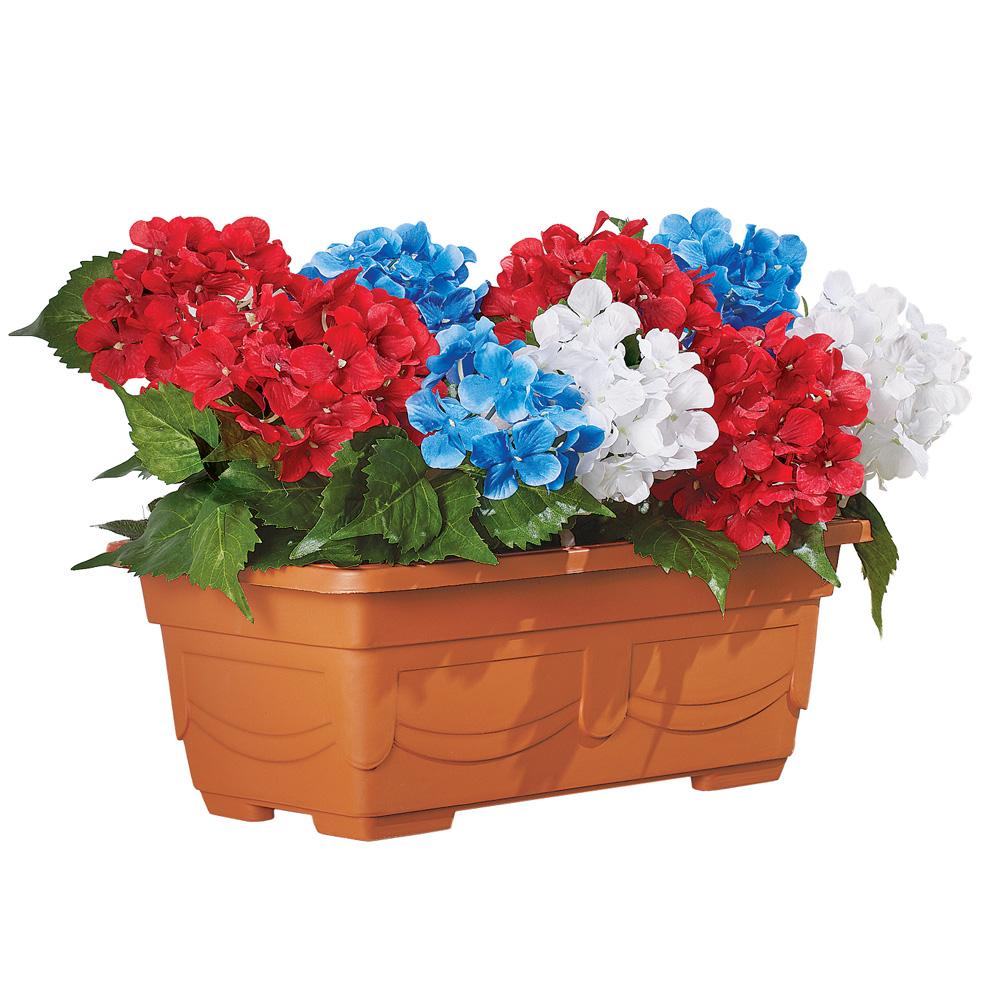 Patriotic Outdoor Artificial Hydrangea Flower Arrangement Window Planter Box Decoration