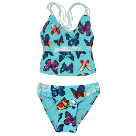 Vigoss Little Girls Turquoise Butterfly Print 2 Pc Tankini Swimsuit