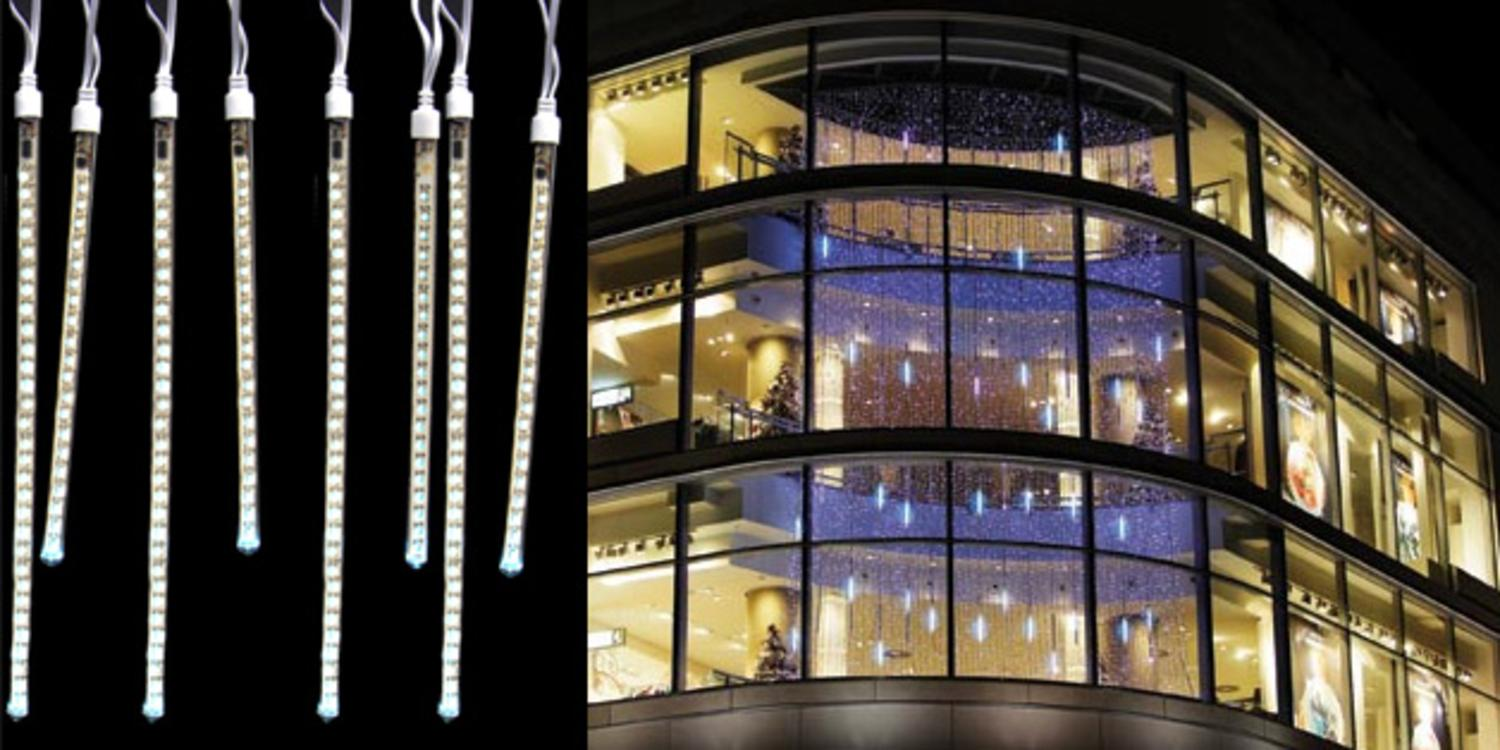 set of 8 led pure white dripping icicle tube christmas lights white wire walmartcom - White Icicle Christmas Lights