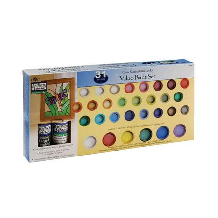 - Plaid Gallery Glass Window Color Value Paint Set, 17030 (31-Colors)
