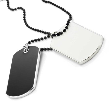 - Army Style 2pcs Dog Tag Pendant Mens Necklace Chain (with Branded Gift Box)