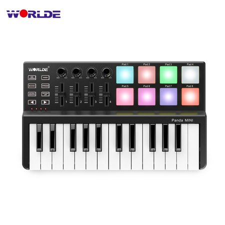 WORLDE Panda MINI 25-Key Ultra-Portable USB MIDI Keyboard Controller 8 Colorful Backlit Trigger