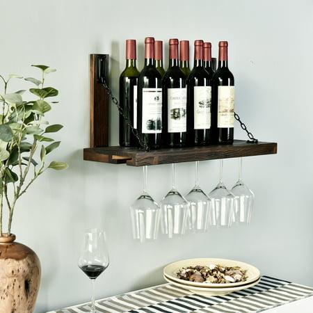 Wall Mounted Wine Glass Holder - WELLAND Karen Wall Mounted Wine Racks with Glass Holder