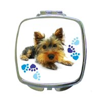 Yorkie - Yorkshire Terrier and Blue Pawprints - Compact Square Face/Makeup Mirror