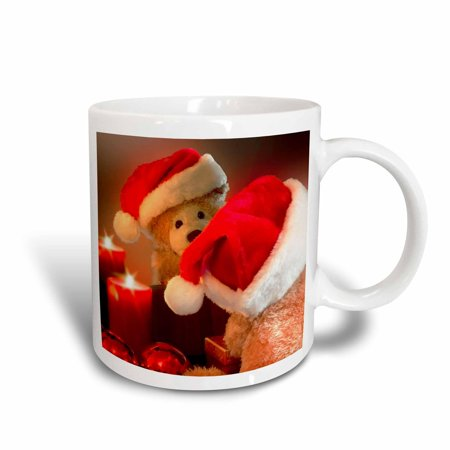 (3dRose Christmas Teddy Bear in a Santa Hat with Candle and Reflection, Ceramic Mug, 15-ounce)