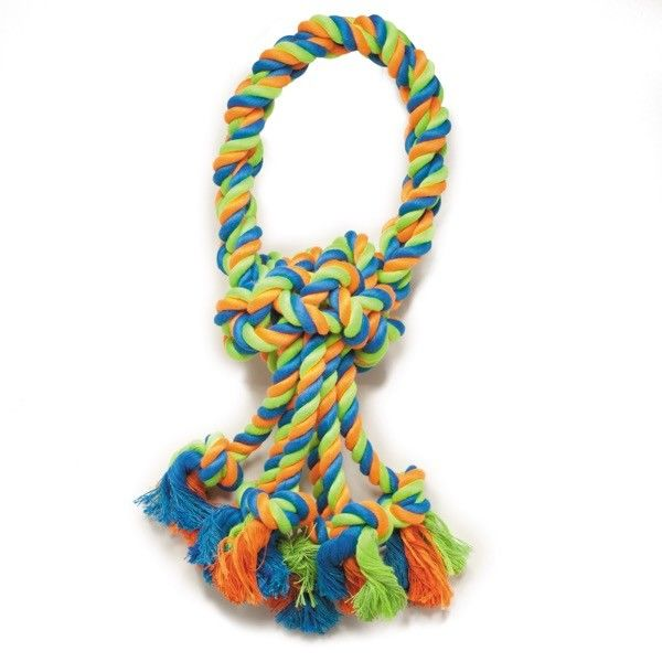 "Rope Toys For Dogs Mighty Bright Colored Loops 14 1 2"" Long Rugged Chewing Knots by"