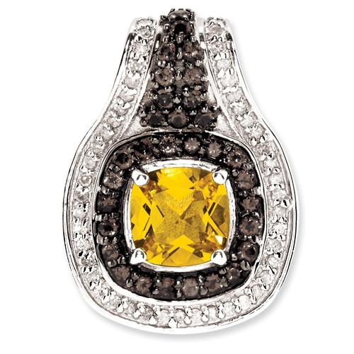 Sterling Silver Citrine & Smokey Quartz & Diamond Pendant. Carat Wt- 1.69ct
