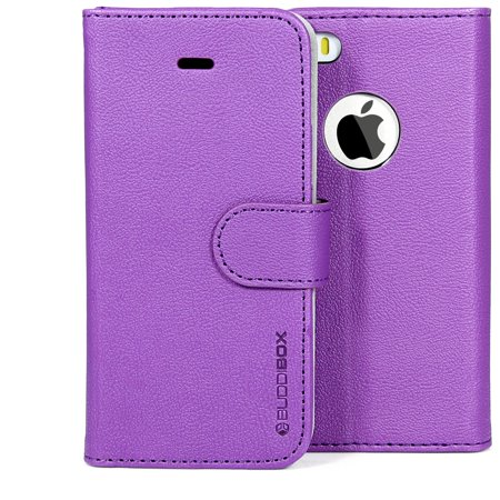 BUDDIBOX iPhone 5S / 5 Case Premium PU Durable Leather Wallet Folio Protective Cover Case for Apple iPhone 5 /