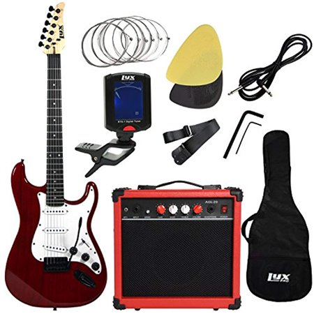 LyxPro Electric Guitar with 20w Amp, Package Includes All Accessories, Digital Tuner, Strings, Picks, Tremolo Bar, Shoulder Strap, and Case Bag Complete Beginner Starter kit Pack Full Size