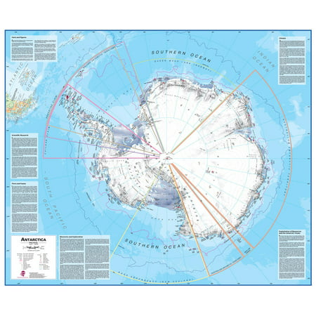 Waypoint Geographic Antarctica 1:7 Wall Map - Laminated