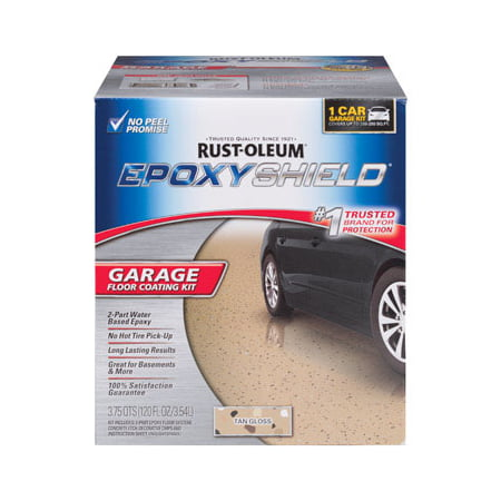 EPOXYSHIELD 1 Car Garage Floor Coating Kit- Tan Gloss (Concrete Floor Paint)