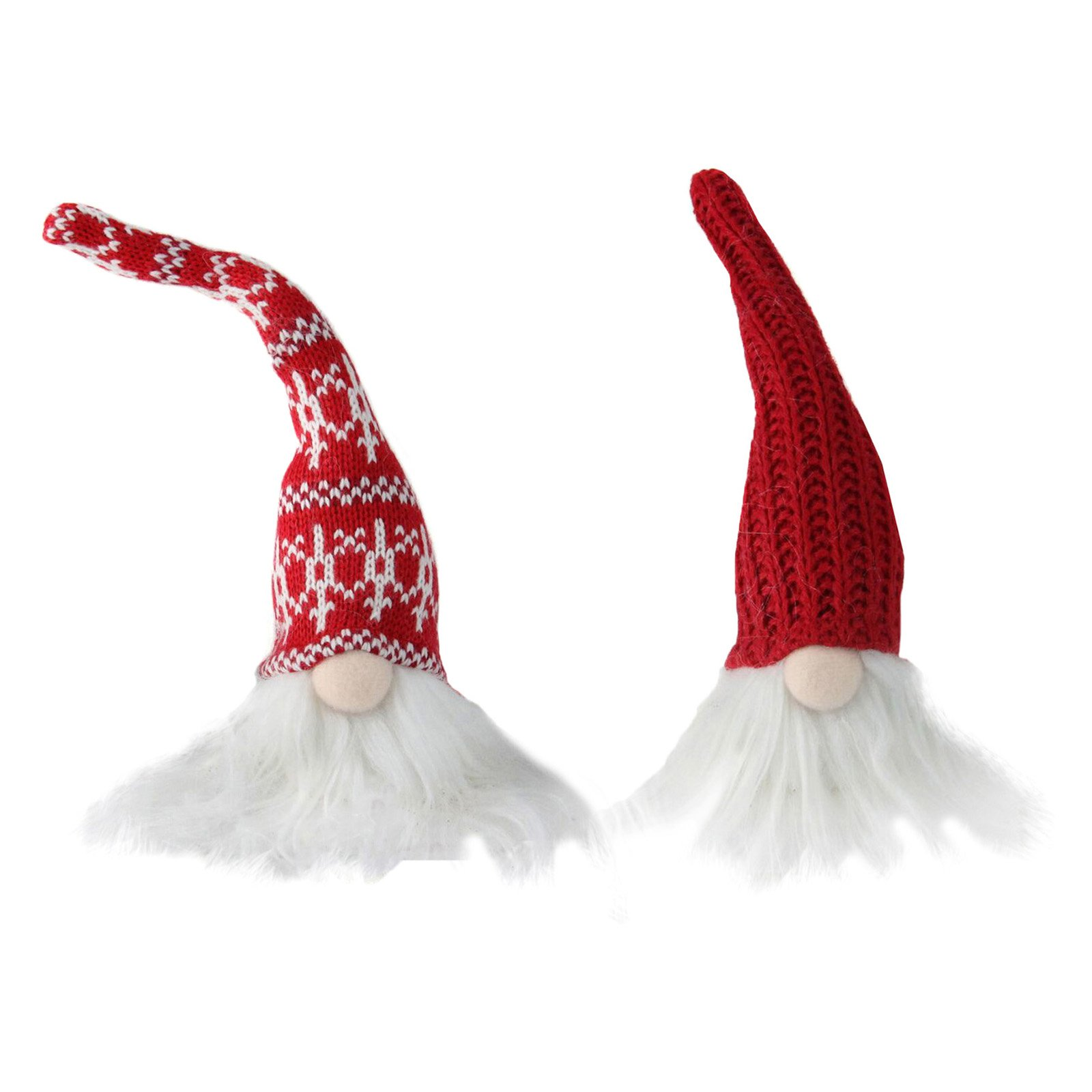 Northlight Plush Mini Gnomes in Red Cable Kit and Nordic Hats Christmas Figurine - Set of 2