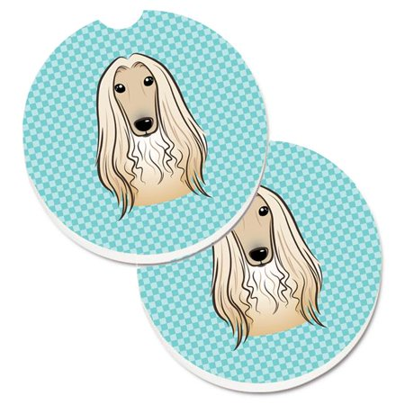 Checkerboard Blue Afghan Hound Set of 2 Cup Holder Car (Pulp Board Paper Coasters)