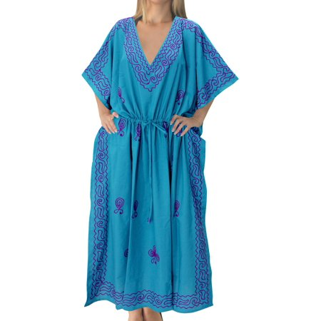 Womens Boho Plus Size Embroidered Party Rayon Long Caftan Evening Wear Summer Loose Dress Kaftan