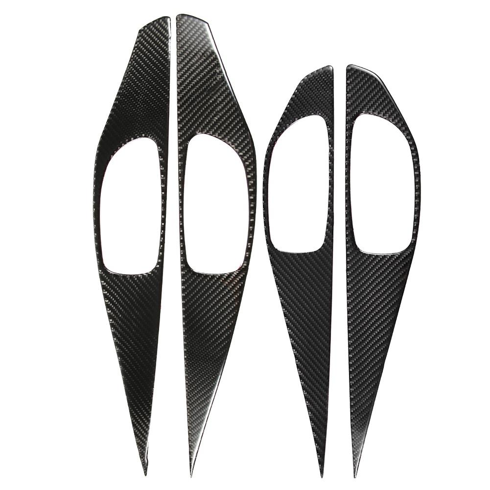 Door Handle Trim 4pcs Real Carbon Fiber Door Interior Door Handle Bowl Cover Trim for Infiniti Q50 Q50L 13-18