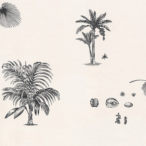 Blue Mountain Palm Tree Wallcovering, White with Black Palm Trees
