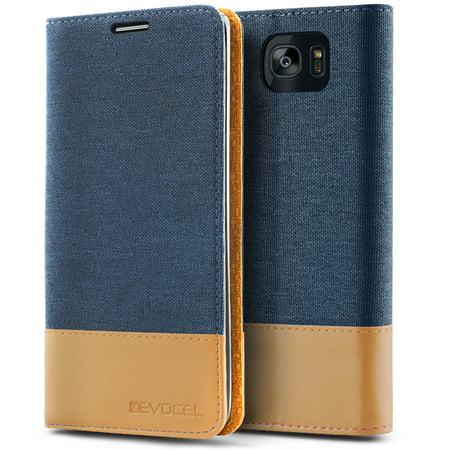 newest a99e5 1a7cd Galaxy S7 Edge Case, Evocel [Folio Case] [Flip Open] [Kickstand] [Canvas  Material] [Magnetic Closure] Folio Series Phone Case for Samsung Galaxy S7  ...