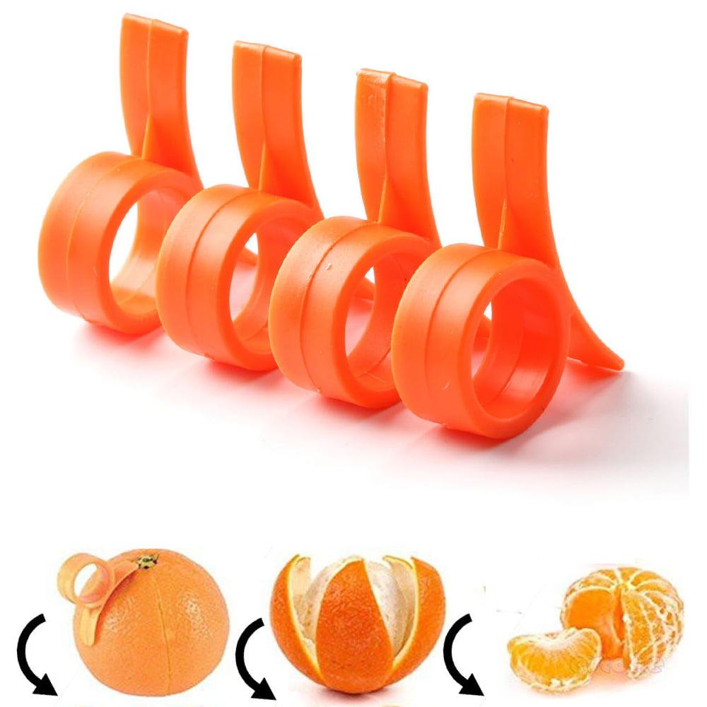 4 Pc Orange Peeler Kitchen Tool Gadgets Lemon Lime Fruit Slicer Plastic Cutter by Chef Craft