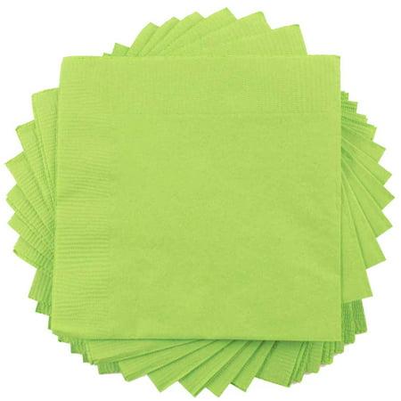 JAM Paper Bulk Beverage Napkins, Small, 5 x 5, Lime Green, 600 Napkins/Box - Lime Green Beverage Napkins