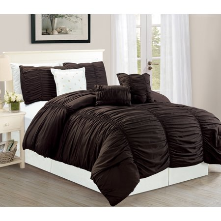 WPM 7 Piece Royal Chocolate Brown Ruched comforter set Elegant bed in a bag Luxurious King size Bedding