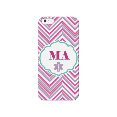 MA Medical Assistant Striped Pink Gray White Cover for Apple iPhone 6s Plus Case By iCandy Products ()