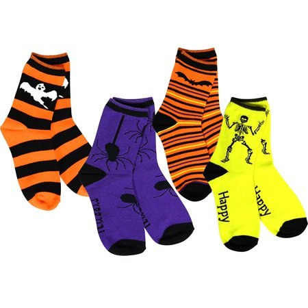 Creepy Happy Halloween Font (TeeHee Halloween Kids Cotton Fun Crew Socks 4-Pair Pack (Happy Halloween)