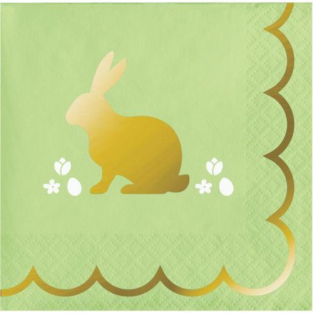 Creative Converting Golden Easter Beverage Napkin, 3Ply Foil Stamped, 16 ct
