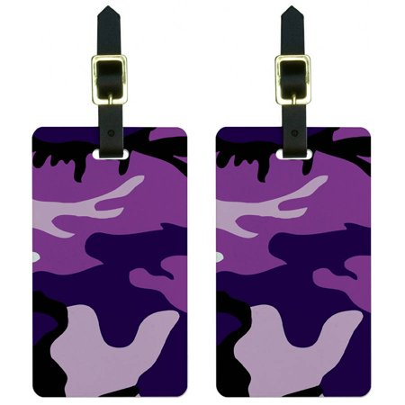 Purple Luggage Tag (Purple Camouflage Army Soldier Luggage Tags Suitcase Carry-On ID, Set of)