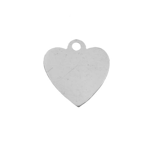 Sterling Silver Stamping Blank, Heart With Loop 14.5mm, 1 Piece, Silver