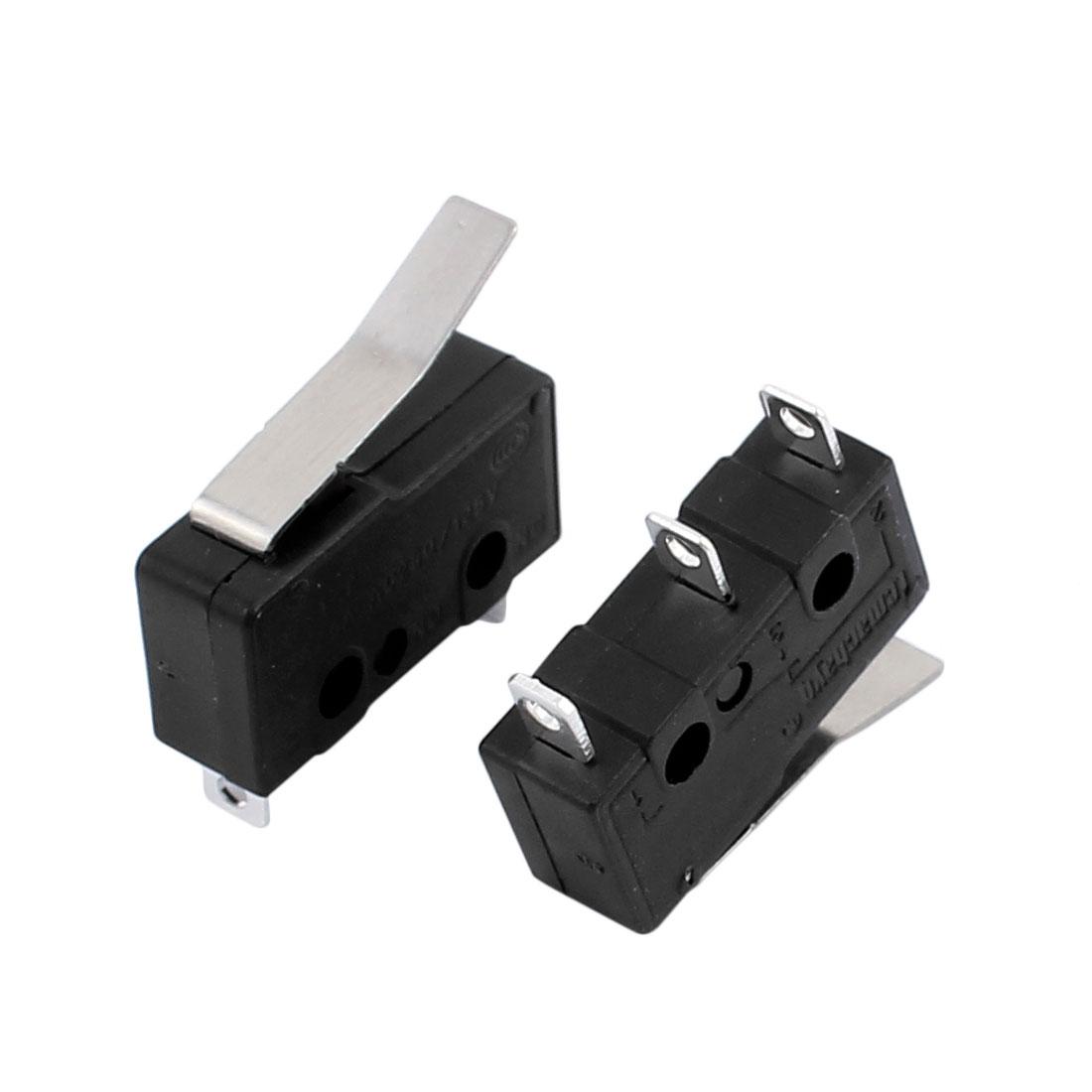 10Pcs AC250/125V 3A 3P 18mm momentanée micro-interrupteur bras levier12-12 KW Noir - image 1 de 3