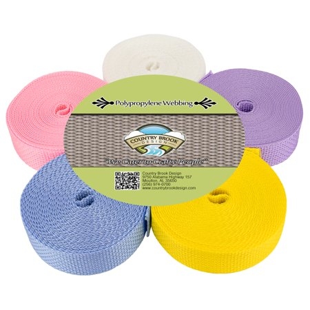 Country Brook Design® 1 Inch Polypro Webbing #3 Pastels, 5 Yards of 5