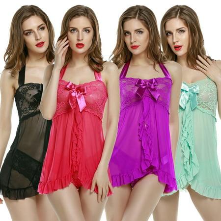 Avidlove Women Sexy Halter Lace Strap Chemise Babydoll Lingerie Set