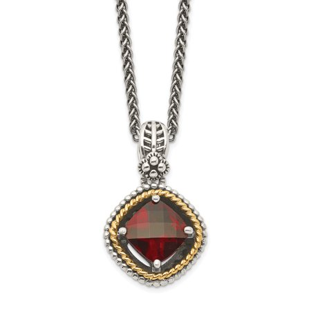 Sterling Silver Two Tone Silver And Gold Plated Sterling Silver w/Garnet Necklace - image 2 of 2