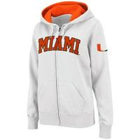 Miami Hurricanes Stadium Athletic Women's Arched Name Full-Zip Hoodie - White