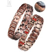 """GustaveDesign Pure Copper Double Magnetic Therapy Bracelet for Carpal Tunnel And Arthritis Pain Relief Solid Copper Jewelry """"Type A"""""""