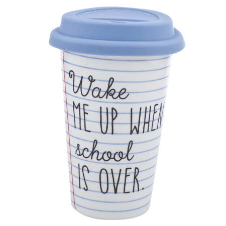 Lux Accessories White Blue Wake Me Up When School Is Over Travel Coffee Mug (Blue Coffee Mug Cup)