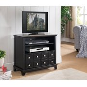"30"" Black Wood Entertainment Center TV Console Stand With Storage Cabinets & Shelves"