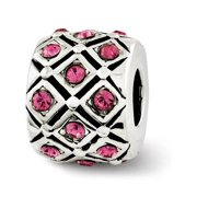 Sterling Silver with Swarovski Crystals Oct Pink Lattice Bead Charm