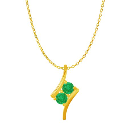 2 Stone Emerald Freeform Pendant in 14K Yellow Gold - image 2 de 2