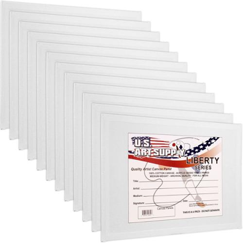 "12 Pack of U.S. Art Supply 16"" x 20"" Professional Quality Canvas Panels Acid-Free"