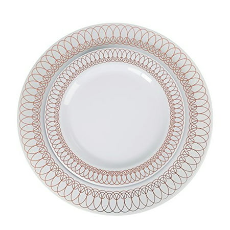 Exquisite Plastic Disposable Dinnerware Set - 60 Pcs - Wedding & Party Disposable Dinner Plates - Set of 30 Plastic Dinner Plates and 30 Plastic Appetizer/Dessert Plates - White with Rose Gold Ovals - Halloween Party Dinner Ideas For Adults