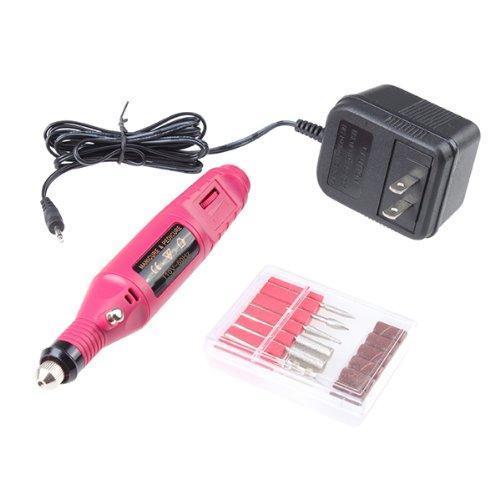 AGPtek Pink Electric Manicure pedicure machine Nail Art File Drill Pen 6 Bits