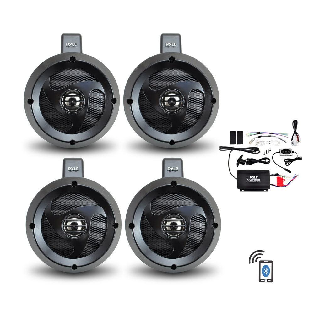 PYLE PLUTVA104BT - 4 Channel Waterproof Bluetooth Wakeboard 4'' UTV/ATV/Snowmobile/Marine Amplified Speaker System