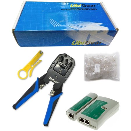 UbiGear Cable Tester + Crimp Crimper + 100 Pcs RJ45 CAT5 CAT5e Connector Plug Network Tool